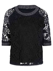 Oui Lace Overlay Top Black