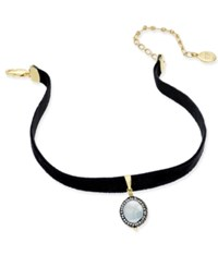 Paul And Pitu Naturally 14K Gold Plated Freshwater Pearl 12Mm Black Stretch Velvet Choker Necklace