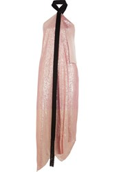 Roland Mouret Copernicus Asymmetric Satin Trimmed Silk Blend Lame Dress Pink