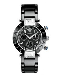 Versace 39Mm Reve Ceramic Chronograph Bracelet Watch Black