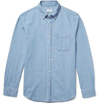 Club Monaco Button Down Collar Cotton Chambray Shirt Light Blue