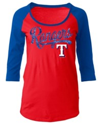 5Th And Ocean Women's Texas Rangers Sequin Raglan T Shirt Red Royalblue