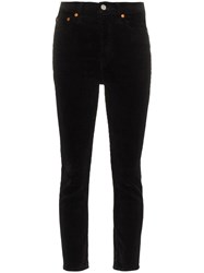 Re Done High Rise Ankle Crop Corduroy Jeans Black