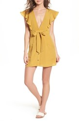 Lost Wander Poppy Flutter Sleeve Tie Dress Mustard