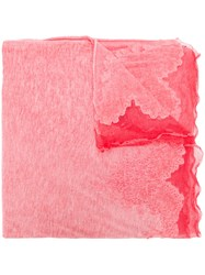 Ermanno Scervino Mesh Trim Scarf Pink And Purple