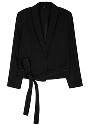 Helmut Lang Black Belted Wool Blend Blazer