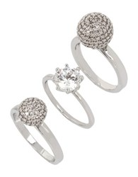 Betsey Johnson Pave Ball And Stone Ring Set Of 3 Silver