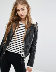 Pull And Bear Pullandbear Fur Collar Biker Jacket Black