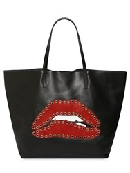 Red Valentino Studded Suede Lips Leather Tote