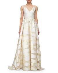 Lela Rose Sheer Back Metallic Space Dyed Gown Gold
