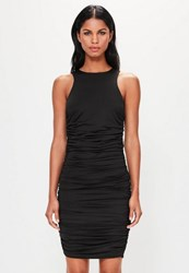 Missguided Black Sleeveless Ruched Side Mini Dress