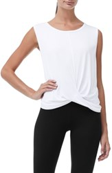 Good American Plus Size Knotted Tank Top White001