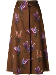 Andrea Marques All Over Print Skirt Women Cotton 36 Brown