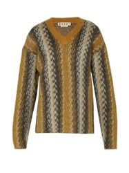 Marni Abstract Stripe Mohair Blend Sweater Yellow Multi