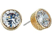 Cole Haan Round Cz Stud Earrings Gold Crystal Earring