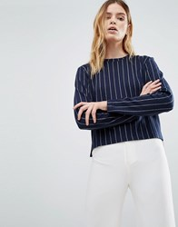 Native Youth Stepped Hem Pinstripe Crew Top Navy White