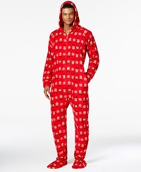 Family Pajamas Men's Supersoft Reindeer Hooded And Footed Only At Macy's Deer Print