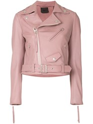 Aula Belted Leather Jacket Pink And Purple