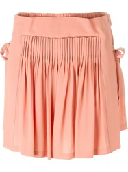 No21 Pleated Panel Tie Sides Shorts Pink And Purple