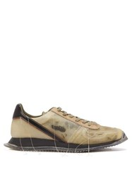 Rick Owens Distressed Stitch Low Top Leather Trainers Black
