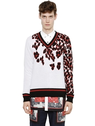 Miharayasuhiro Leopard Print Double Cotton Sweater White Red