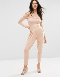 Asos Bardot Peg Leg Jersey Jumpsuit With Long Sleeve Cosmetic Beige