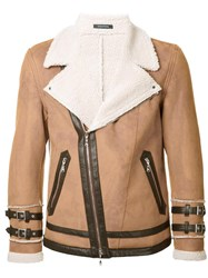 Guild Prime Buckled Cuffs Biker Jacket Brown