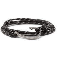 Miansai Cord And Silver Plated Hook Wrap Bracelet Black