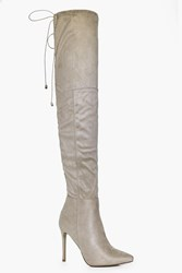 Boohoo Pointed Tie Thigh High Boot Beige