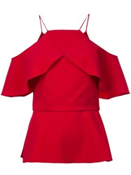 Christian Siriano Ruffled Off Shoulder Top Red