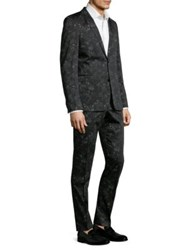 Strellson Cale Madden Slim Fit Floral Suit Charcoal