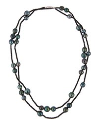 Belpearl 14K Tahitian Black Pearl And Spinel Rope Necklace 10.5Mm