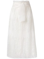 Ermanno Scervino High Waisted Lace Skirt Women Silk Ramie Polyamide Viscose 40 White