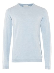 Topman Premium Light Blue Merino Crew Neck Jumper