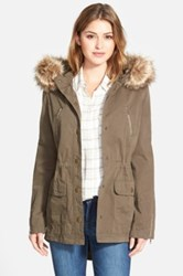Caslon Hooded Utility Coat With Removable Faux Fur Trim Green