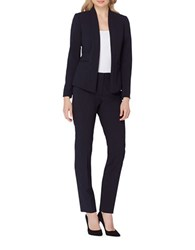 Tahari By Arthur S. Levine Petite Solid Two Piece Jacket And Pants Suit Navy