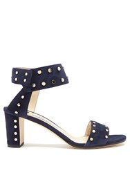 Jimmy Choo Veto 65Mm Studded Suede Sandals Navy Gold