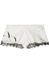 Carine Gilson Anna Chantilly Lace Trimmed Floral Print Silk Satin Shorts Ivory