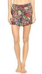 Alice Olivia Smocked Floral Shorts English Floral All Over