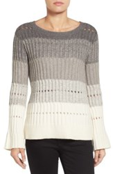 Vince Camuto Ombre Stripe Pointelle Sweater Gray