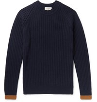John Smedley Ezra Contrast Tipped Ribbed Merino Wool And Cashmere Blend Sweater Blue
