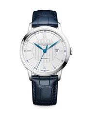 Baume And Mercier Classima 10333 Stainless Steel Alligator Strap Watch Blue