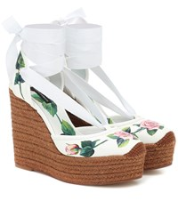 Dolce And Gabbana Floral Leather Wedge Espadrilles White