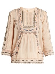 Rebecca Taylor Esme Embroidered Cotton Blouse Pink Multi