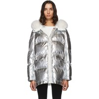 Yves Salomon Army Silver Down And Fur Reflective Doudoune Jacket