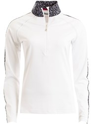 Green Lamb Falcon Zip Neck Long Sleeve Polo White
