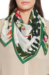 Vince Camuto Women's Tropic Floral Silk Square Scarf White