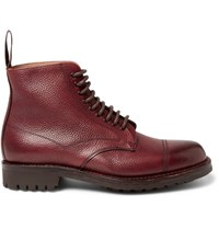 Cheaney Pennine Pebble Grain Leather Boots Burgundy