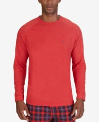 Nautica Men's Lighweight Raglan Lounge T Shirt Red