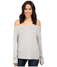 Splendid Super Soft Brushed French Terry Slouchy Boat Neck Heather Grey Women's Clothing Gray